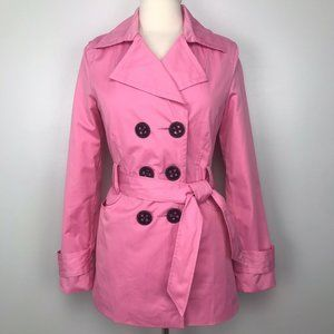 Express Pink Rain Jacket Belted Trench Coat XS